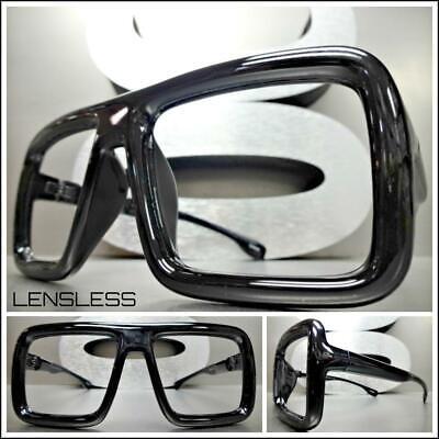 Übergröße Retro Stil Groß Dick Schwarz Glasloses Brillen Rahmen nur Kein