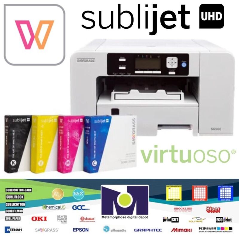 Sawgrass SG500 Virtuoso Printer+ Design Studio + CMYK Ink Set FREE Shipping