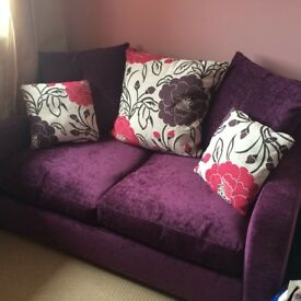 Purple John Lewis sofa bed and cushions for sale. Hardly used, great condition.