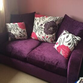 purple john lewis sofa bed and cushions for sale hardly used great condition