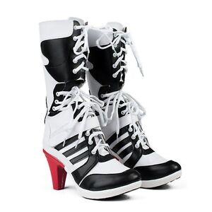 Batman-DC-Comics-Suicide-Squad-Harley-Quinn-Cosplay-Boots-Costume-Shoes-Heel