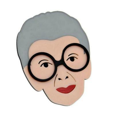 "IRIS APFEL PIN 3.5"" Large Acrylic Pop Art Brooch Advanced Fashion Style Icon"