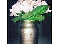 Trendy Rose gold mason jar with baby pink artificial flowers