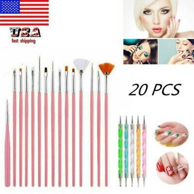 20pcs Nail Art Gel Design Pen Painting Polish Brush Dotting Drawing Tools Set US