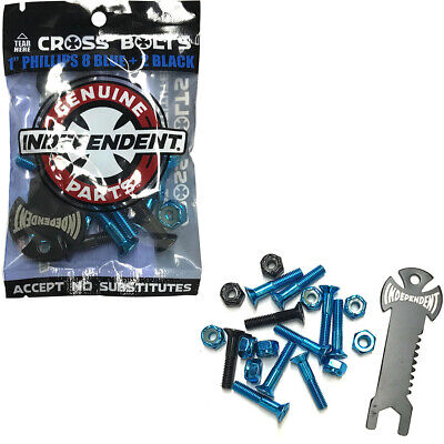 "Independent 1"" Phillips Skateboard Hardware Blue/Black Mounting Bolts with Tool"