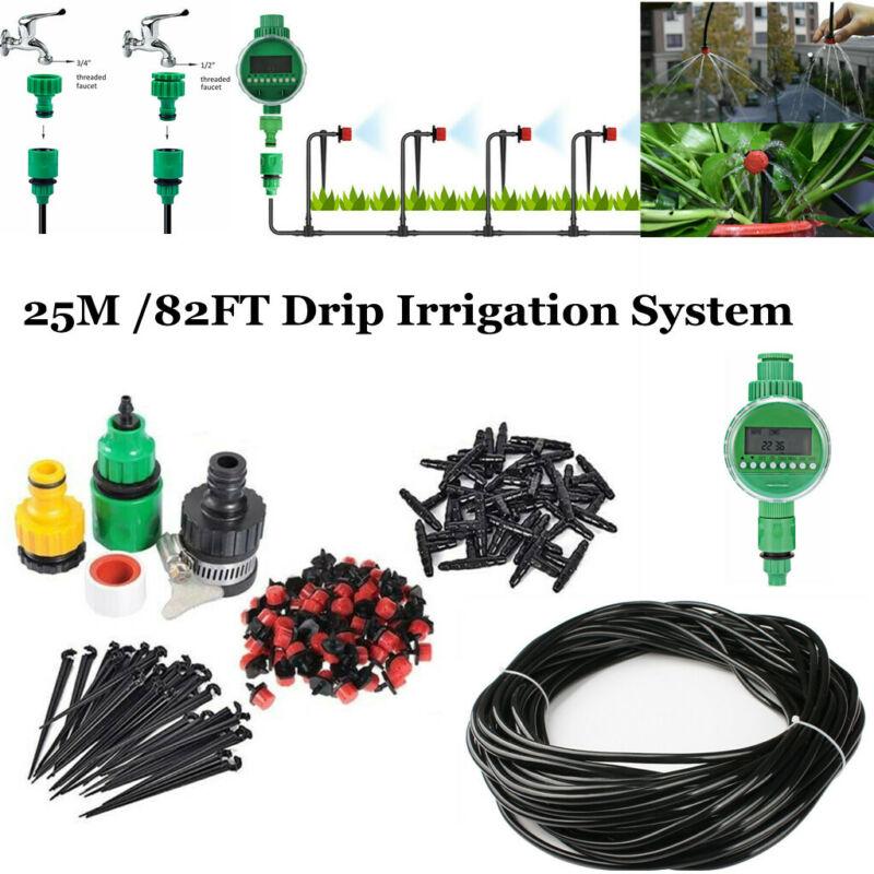 82FT Micro Timer Auto Drip Irrigation System Kit Hose Garden Watering Sprayer