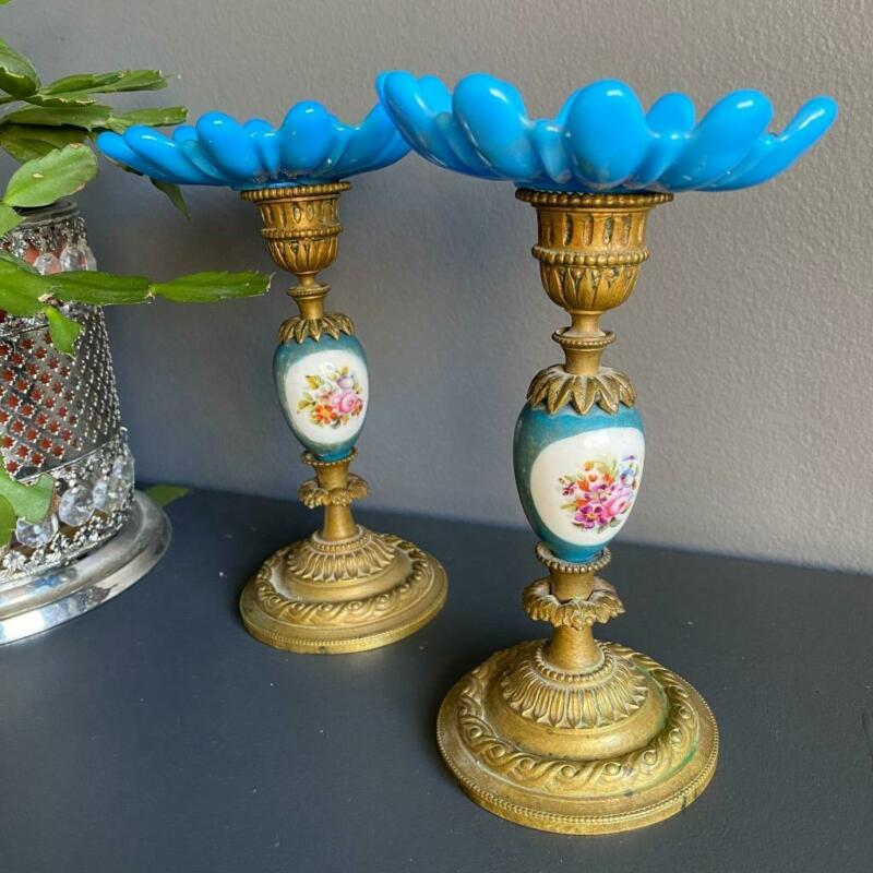 Pair French Sevres Porcelain & Ormolu Candlestick Hand Painted Flower Bobeche