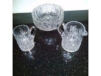 3 items of Crystal Cut glass, Bowl, Jug, glass