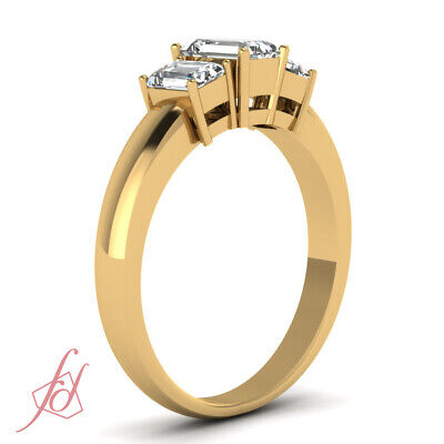 1.20 Ct 3 Stone Emerald Cut Diamond Engagement Ring In Yellow Gold For Women GIA 2