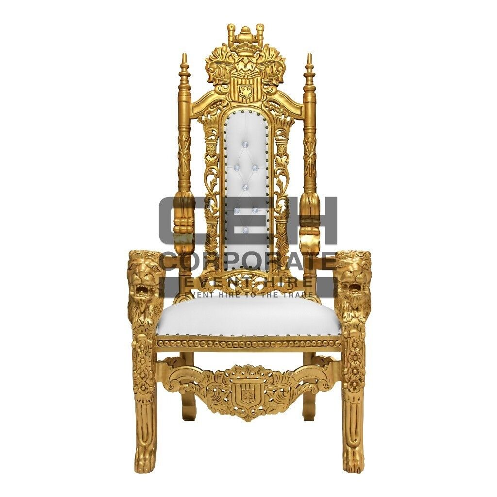 £50 Wedding Chair Hire Lion Throne Rent Bride Groom King Queen Armchair Gold