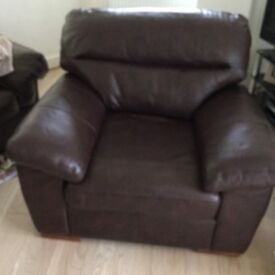 Marks & Spencer brown bronco leather armchair