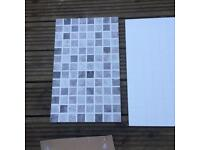 White ceramic mosaic tiles