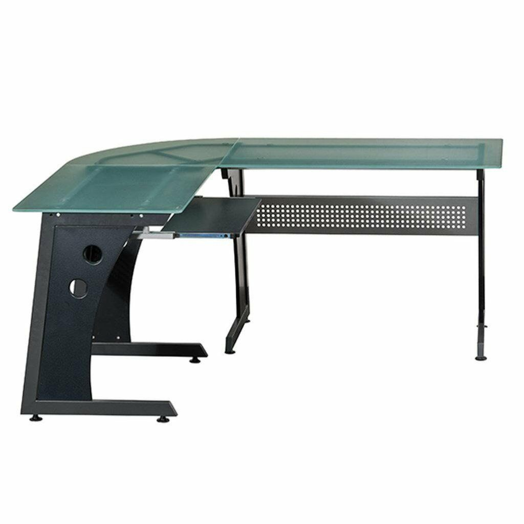 Large L-Shaped Dark Glass Top PC Desks Study Table Home