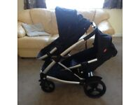 Phil & Teds double buggy & carry cots