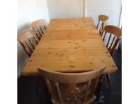 Preloved, solid pine, extendable kitchen table & 6 chairs