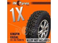 1x 31.10/50R15 Kingpin Tyres 31 10 50 15 Mud Terrain MT Retread Like Insa Turbo