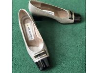 Beautiful low square heeled black/white/check shoes from Accademia, Italy, size 37.5