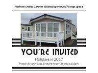 2017 Platinum grade luxurious 3 bedroon, 6 berth caravan to hire at Haven's Seashore Holiday Park