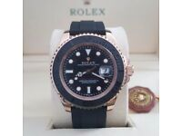 Black Ruber Rolex YachtMaster Everose C9mes Rolex Bagged and Boxed with Paperwork