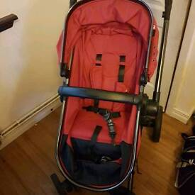 Mothercare orb red pushchair with footmuff and raincover
