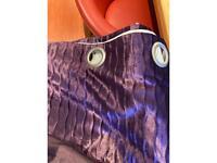 Purple velvet silk eyelet curtains
