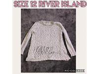 River Island long sleeve grey sparkle top