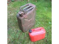 20L Jerry Can Green Army Metal Style For Petrol Diesel Water + 5L Plastic Can