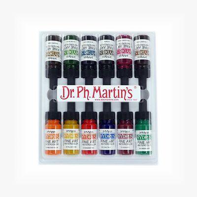 Dr Ph Martin's Hydrus Ink - 12 x 1/2 oz (15ml) Liquid Watercolour - Set 2 ()