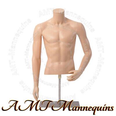 Male Realistic Mannequin Base Adjustable Hgt Half Body Realistic Torso-mt3-fw