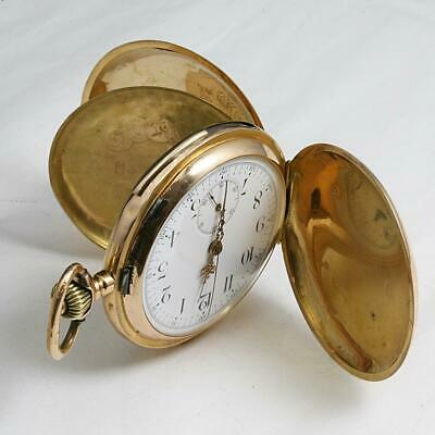 BIG 57mm 18K SOLID GOLD ANTIQUE QUARTER REPEATER CHRONOGRAPHE POCKET WATCH