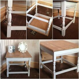 shabby chic square table phone table occasional table side table (7)