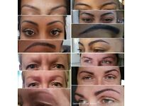 Microblading of Eyebrows - Application of pigment below the skin with natural hairstroke appearance.