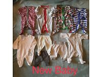 Bundle of New Baby Clothes Sleepsuits and trousers Mothercare, Next, Peter Rabbit