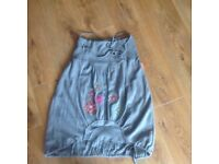 Soft grey knee length with embroidered flowers small