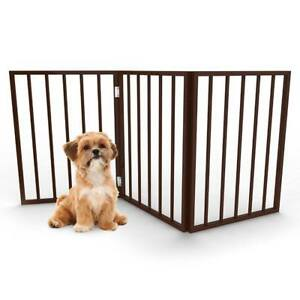 NEW PETMAKER Freestanding Wooden Pet Gate, Dark Brown