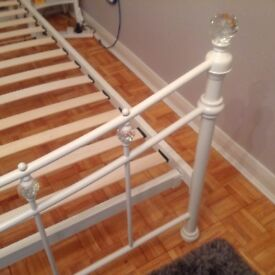 Next double metal bed with crystal/glass knobs and finials
