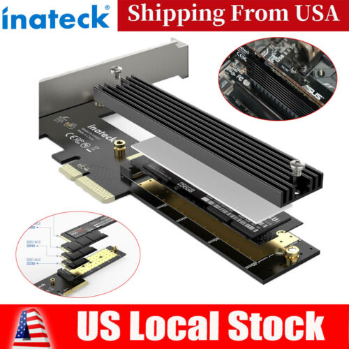 Inateck M.2 PCIe Adapter PCIe x4 to M.2 SSD NVMe Card w/ Heatsink Support 2280