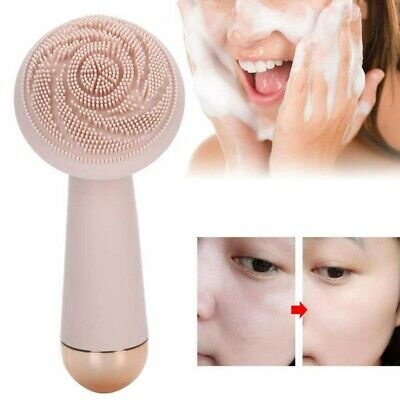 Facial Cleansing Brush USB Electric Silicone Face Scrubber Skin Beauty Device