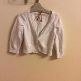 Next girls white cropped cardigan age 7-8 years