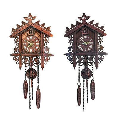 2Pcs Retro Wood Cuckoo Wall Clock with Pendulum Housewarming Gifts 2Color