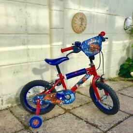 Fabulous price and condition Ultimate Spider-Man 14 Inch Kids Bike and Spiderman Helmet