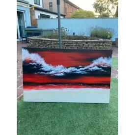 48 inches width, 30 inches high canvas painting