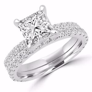 ENSEMBLE BAGUE DE MARIAGE AVEC DIAMANT PRINCESSE 1.25 CARAT TOTAL / PRINCESS CUT DIAMOND WEDDING SET 1.25 CTW