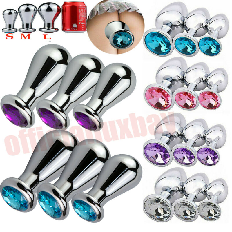 Lot Stainless Steel Weights Plug Anal Butt Adult Toys Bulb Stopper Jeweled S/M/L