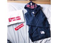 Supreme Champion Arc Logo Zip Up Sweat Hoodie Navy Size M Brand New
