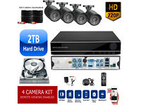 2TB HD CCTV Security Camera Surveillance Kit. HD DVR, 4x HD Cameras, Cables, Remote, Mobile View.