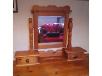 Pine mirror and drawers