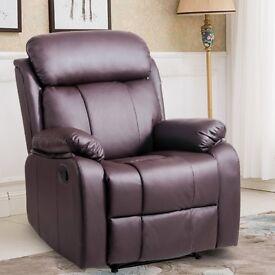 SALE! Reclining Chair Recliner Chair Lounge Armchair Leather Sofa Chair (Brown)