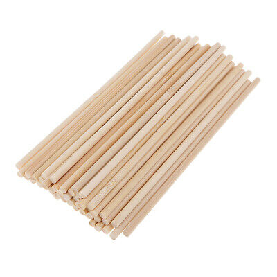 50pcs Bamboo Unfinished Wooden Round Stick Dowel Rod 150mm - Bamboo Dowels