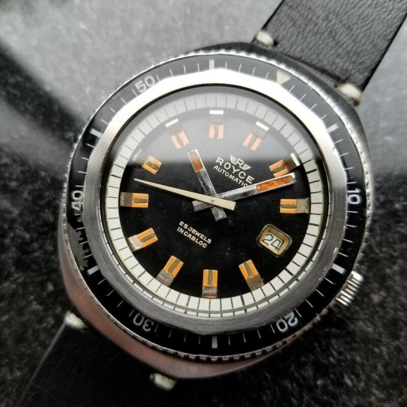 Royce Vintage Jumbo 43mm Automatic 1960s Rare Mens Swiss Diver SS Watch LV232